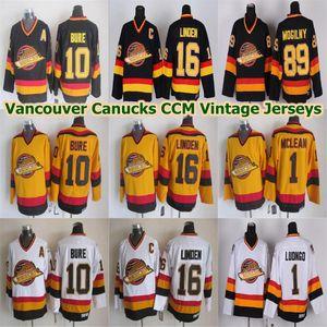 Erkekler Vancouver Canucks CCM Vintage Formalar 10 Pavel Bure 16 Trevor Linden 89 Alexander Mogilny 1 Kirk Mclean Roberto Luongo Hokeyi Formalar