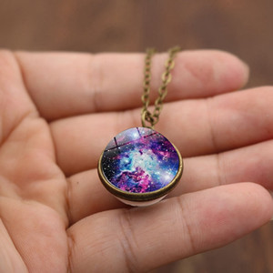 Universe Star Cloud double sided glass cabochon Necklace time gemstone pendant women girls fashion jewelry gift