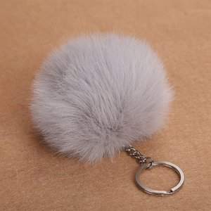 8cm Faux Fur Ball Keychain Pompom Fluffy Lovely Key Chain Keyring Cute Pom Porte Clef for Women Bag Charm Toys 6c0091