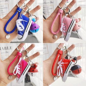 Key Ring Canvas Shoes Keychain Bag Charm Woman Men Kids Key Holder Gift Sports white Sneaker Chain Funny Gifts