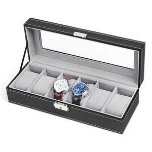 3/6/10 Slot pelle casse di orologi Storage Box Organizzatore Nuova vigilanza Mens di esposizione del supporto nero gioielli personalizzati scatole regalo migliore regalo