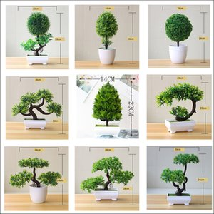 green bonsai Artificial Plants small tree art home garden desk deco fake plastic plants with potted greenry craft supplies 1pc C0924