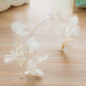 Women Bridal Romantic White Butterfly Flower Crown Headband Floral Hairband Festival Wedding Prom Party Accessories Headdress