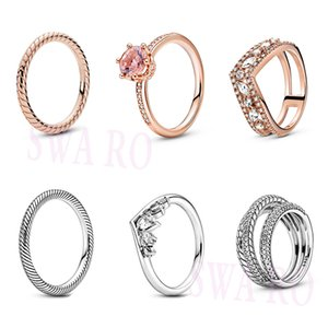 2020 AUTUMN new S925 Rose Snake Chain Pattern Sparkling Pear Marquise Wishbone Triple Band Pavé Snake Chain Pattern Ring