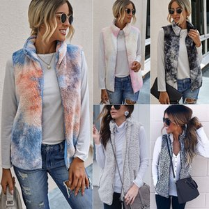 Best Selling Color Hot Autumn and Winter Fashion Zip Pocket Turtleneck Tie-Dye Plush Vest Womens Vest