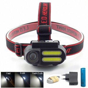 powerful 3 Led COB USB Headlamp headlight 18650 frontal mini head Lamp torch light Night Lighting linterna camping 95un#