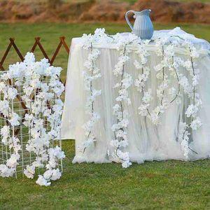 200CM Artificial Cherry Blossom Vine Silk Flowers Sakura For Wedding Ceiling Decor Fake Garland Arch Ivy DIY Party Decoration