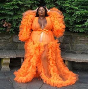 Orange Plus Size Abendkleider kräuselt volle Hülsen schwangere Frauen Sheer Robe Shawel Mutterschaft Schwangere Fotosession Party-Kleid