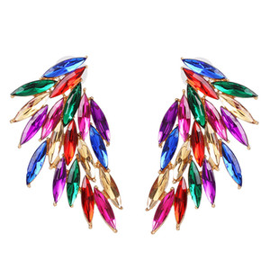 2020 Rainbow Angel Women Crystal Ear Studs Feather Earrings Fashion Luxury Gem Ear Studs Party Gifts Wedding Jewelry