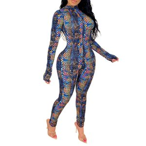 Summer Women Jumpsuits Rompers Full Sleeve O-Neck Serpentine Print Sexy Club Party Bandage One Piece Outfits