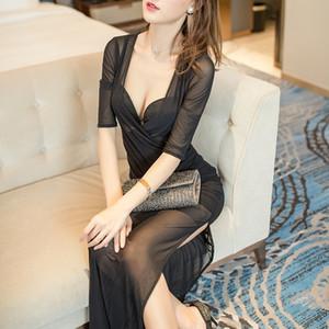 yBvAw ночной клуб сексуальные перспективы женщин 2020 новая сетка Сан прозрачном платье сауна халат Комбинезон рабочая одежда Вечерние техник рабочая одежда
