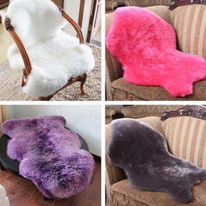 60x90cm artificielle en peau de mouton Poilu Tapis pour Salon Tapis Chambre peau de fourrure Surface Fluffy uni Tapis Lavable Chambre Faux Mat
