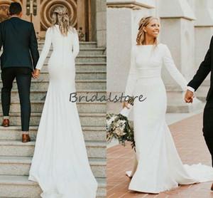 Simple Cheap Mermaid Wedding Dresses Elegant Long Sleeve Boho Country Style Wedding Dress 2020 Sweep Train Strech Satin Bridal Skirts Civil