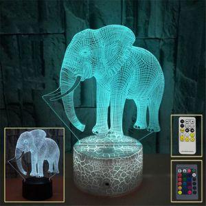 lumières 3D LED Elephant 7 colorée LED tactile visuelle Lampes de table cadeau Atmosphère 3D Night Light Petit