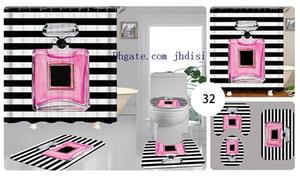 블랙 화이트 스트라이프 변기 시트 쿠션 욕실 매트 미끄럼 방지 패션 간단한 소프트 카펫 세트 커튼 레트로 샤워를 인쇄
