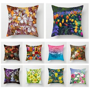 Fuwatacchi Lily Tulip Daisy Throw Pillow Cover Oil Painting Flower Cushion Cover for Home Chair Sofa Decorative Pillows 2020