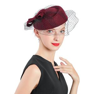 New Autumn Winter Wedding Woman Hat Red Vintage Wool Felt Cap Fedoras Flat Top Bow Veil Hat Bonnet Women Baby Top Hats