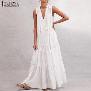 Maniche Sundress ZANZEA di donne del vestito lungo Ruffle Fashion 2020 Sexy scollo a V estate Maxi Abiti nappa femminile Robe Plus Size