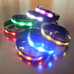 Insulated and heat-insulated rechargeable LED luminous collar Nylon pet belt Dog collar Pet supplies Light-point dog chain