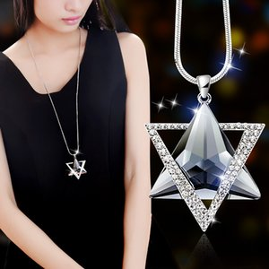 Pendant Necklaces Delicate David Star Pendants Luxury Women Rhinestone Necklace Gifts Crystal Sweater Snake Long Chains Jewelry