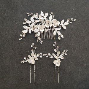 SLBRIDAL main strass cristal autrichien mariée mariage cheveux Com pince à cheveux Barrettes Pin femmes demoiselles d'honneur Ensemble de bijoux