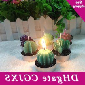 Dekorationen neue kreative Weihnachtskaktus Form Duft Party Supplies Sukkulenten Flameless Kerze Topfpflanze 1 3yh Dxor