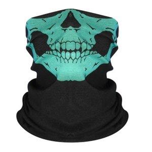 Face шарф Ice Печать Половина Шелковой Солнцезащитные езда Балаклавы Triangle дышащий Бандан Многофункциональной маска Магия череп E3I0