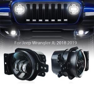 30W светодиодные лампы Противотуманные фары автомобилей с Монтажный кронштейн для Jeep Wrangler JL 2018 2019