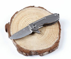 New Arrival Mini Small EDC Pocket Knife Damascus Steel Blade TC4 Titanium Alloy Handle Necklace Chain Knife Gift Knives