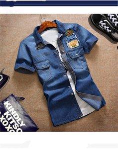 Imprimé Lapel manches courtes Bouton manches T Skinny Slim Mens T-shirts d'été Washed Bleu Designer Mens Denim T-shirts avec lettre de poche