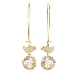 Chic Brass Bird Nest Jewellery Gold Pearl Ear Rings Earrings for Women 2019 Latest New Design