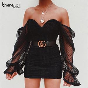 Off Robe noire sexy Femmes dentelle à manches longues plissées Party Club robe d'été Mini 2020 Bodycon Vestidos