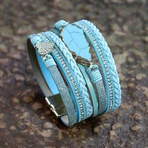 أساور VONNOR للمرأة أزياء جلدية متعددة الطبقات البوهيمي حجر التفاف سوار حجر الراين القلب أنثى مجوهرات