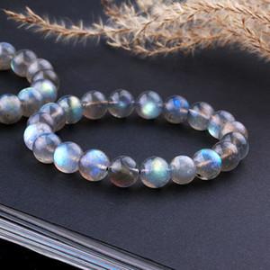 Природный Лабрадорит камень браслеты для женщин Подарка Синего света шарика Gemstone Strand Stretch браслет Femme LJ200918