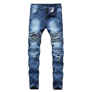 Uomo Jeans Drop Shipping motociclista stracciati dei jeans denim cerniera pieghettato uomini magro pantaloni diritti d'epoca rovinati