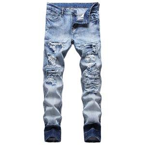 Unique Mens Ripped Slim Fit Jeans Fashion Distressed Biker Blue Denim Pants Big Size Motocycle Hip Hop Trousers For Male JB923
