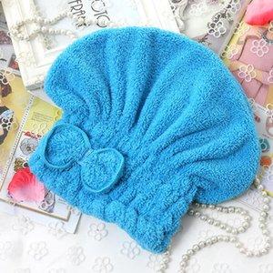 Cappello per capelli rapidamente asciutto Asciugamano solido Asciugamano Asciugamano Assorbente Assorbente Assorbente Asciugatura rapida Asciugatura Asciugatura Donne Microfiber Bow Doccia Doccia DHD704
