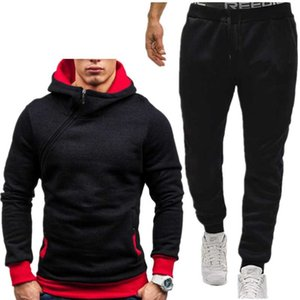 Mens Tracksuit mens sports casual style sweater zipper set solid color fashion cardigan Hoodie set combination
