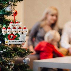 2020 Bendiciones de bricolaje Nombre muñeco de nieve árbol de Navidad colgando colgante de PVC punto Máscara Nuevo Decoraciones de Navidad de Santa Claus Adornos
