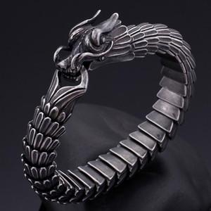 Lokomotif Rüzgar Ejderha Ölçeği Titanyum Çelik Retro Çin Stil Bilezik Hiphop Black Dragon Vücut Zinciri Takı