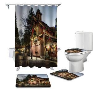 Weihnachtsstraße Holzhaus Dekoration Duschvorhang wasserdichter Duschvorhang Set Badezimmer und Teppich Sets