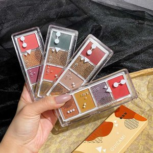 4 Color Shimmer Matte Eyeshadow Palette Glitter Diamond Eyeshadow Pallete Nude Pigment Smoky Makeup Pallete Waterproof Cosmetic