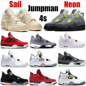 Nueva Jumpman 4 4s Negro Gato para hombre zapatos de baloncesto de los hombres zapatos de punta violeta criados fresco gris diseñador de cemento blanco con la caja