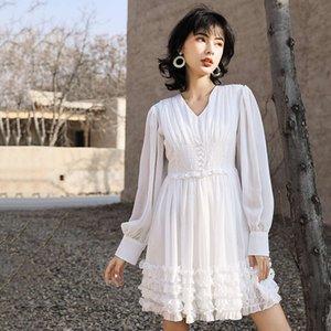-Neck V elegante vestido plissado Verão New solto Slimming fungo da árvore-like Lacework Impresso Fairy Dress F553
