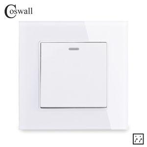 / Kapalı Duvar Işık C1 Serisi On Coswall Kristal Cam Panel 1 Gang 3 Yollu Orta Rocker Anahtarı Crossover Çapraz Anahtarı