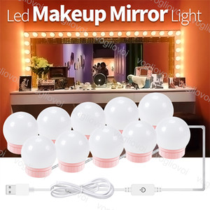 Lampade da parete Trucco Bellezza Bellezza Luce Dimmerabile Lampada a specchio USB 5V LED Vanity Bulb Decor per Studio Dressing Table Bedroom Bathroom Make Up DHL
