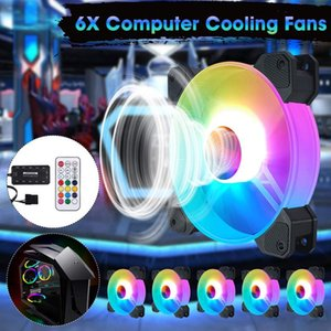 6pcs RGB Adjust LED Fan Cooler 120mm Cooling Fan PC Computer Case Heatsink Silent For Gaming Case Cooler With Controller