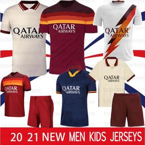 20 21 AS Roma Fußball-Trikots KOLAROV 2020 2021 TOTTI Maglia Da Calcio DZEKO Fußball-Hemd DE ROSSI Herren Kinder Kit Uniformen