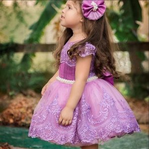 High Quality Knee-Length Dress For Cute Little Princess Customized Flower Girl Dress For Special Occasion with Belt Beading Lace