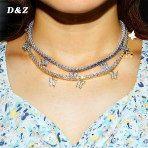 D&Z New Heart Arrow 4mm CZtennis Chain With Luxury Drip CZ Butterfly Charm Choker Necklace Iced Out Bling Hip Hop Women Jewelry